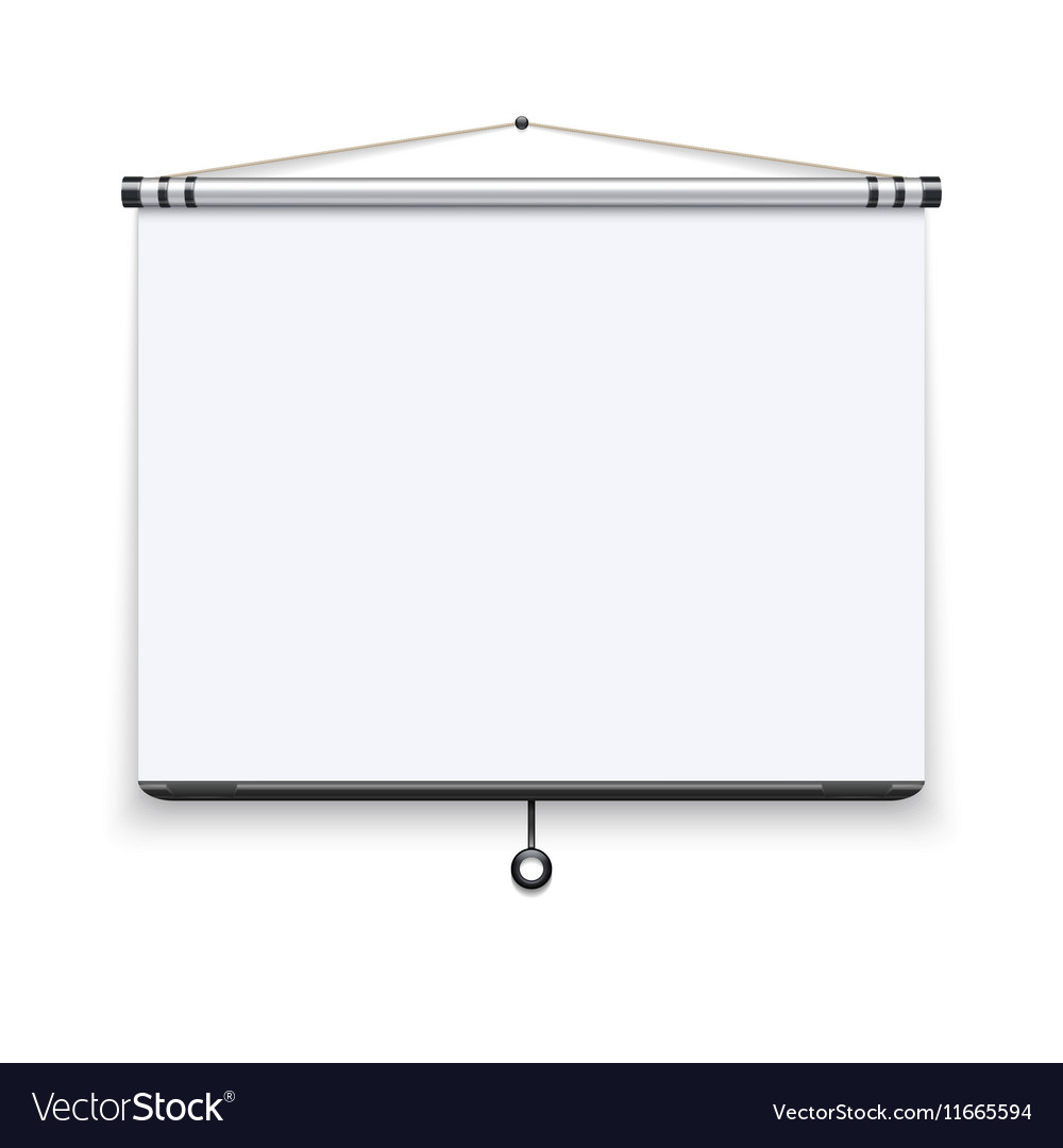 Blank white board meeting projector screen