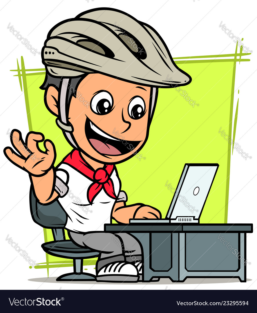 Cartoon cyclist boy character with laptop