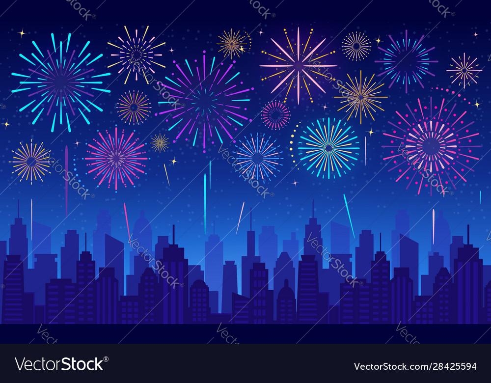 Colorful festive fireworks in dark evening sky
