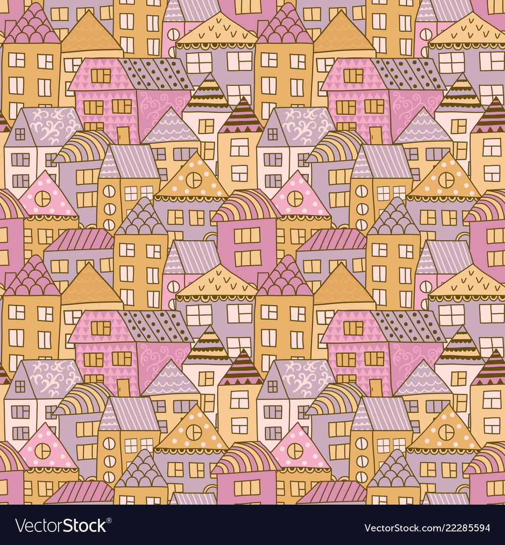 Cute cartoon pattern with tiny houses and trees