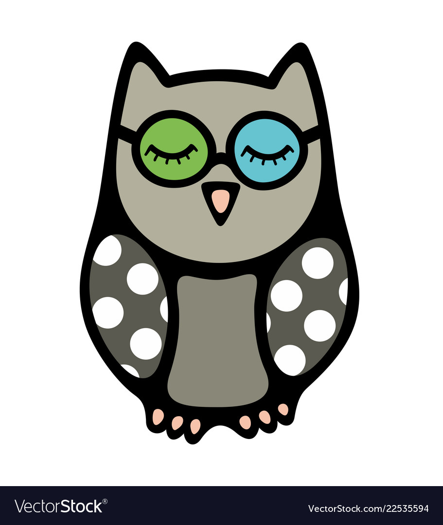 Doodle owl bird with closed eyes in glasses