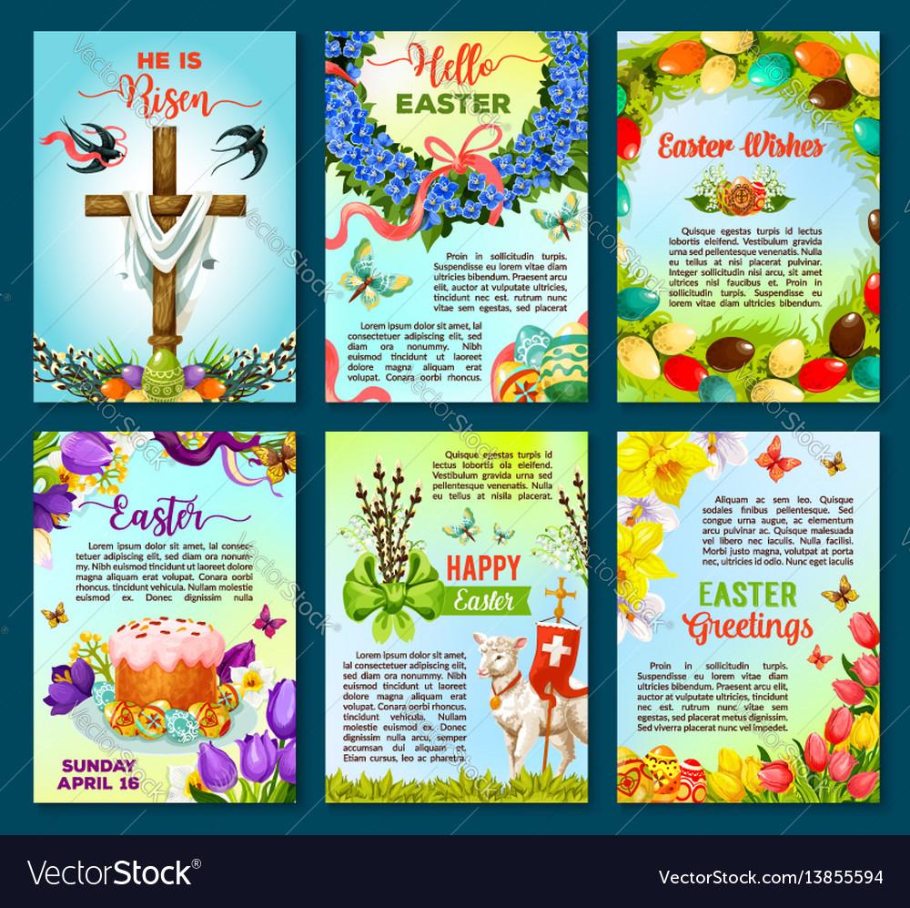 Easter Poster Template Of Egg Flower Cake Cross
