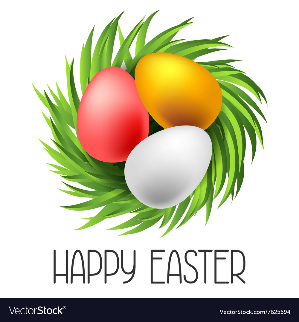 Happy easter greeting card with eggs concept can