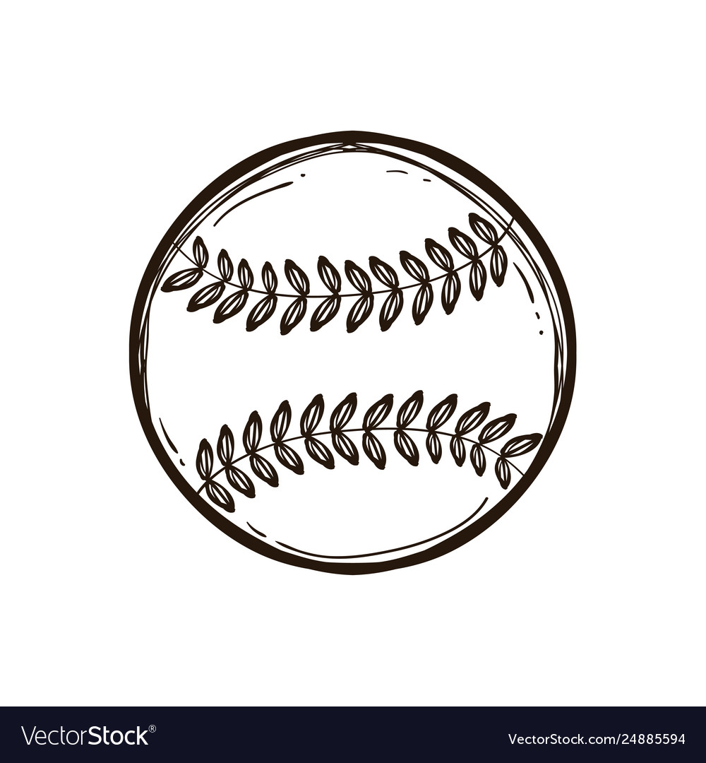 Leather baseball ball isolated coloring book