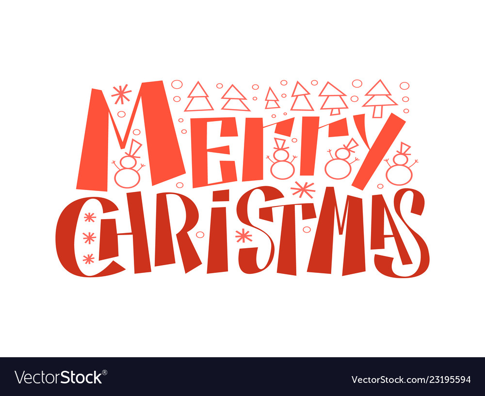 Merry christmas 2019 typographic emblem