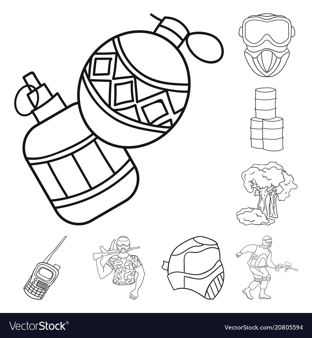 Paintball Team Game Outline Icons In Set Vector Image - Game outline