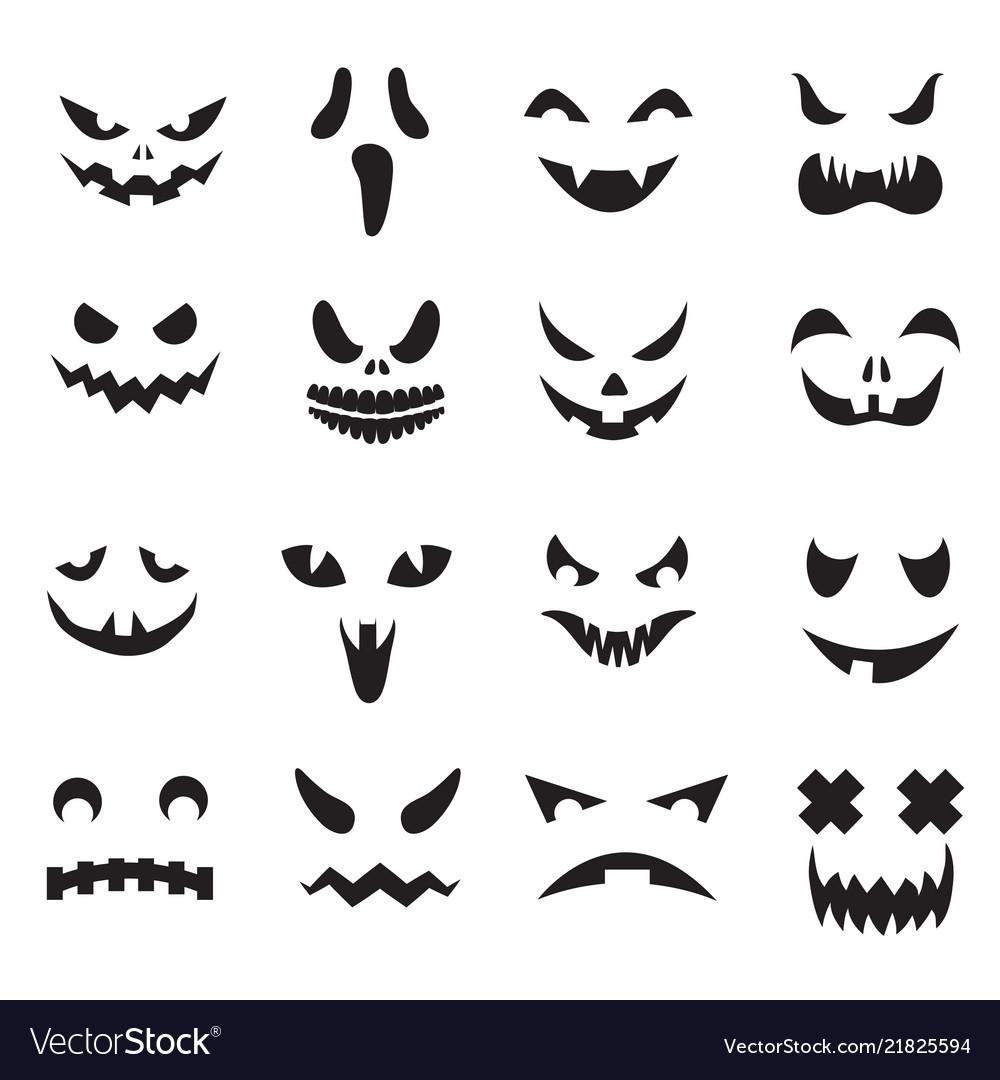 Pumpkin Faces Halloween Jack O Lantern Face Vector Image