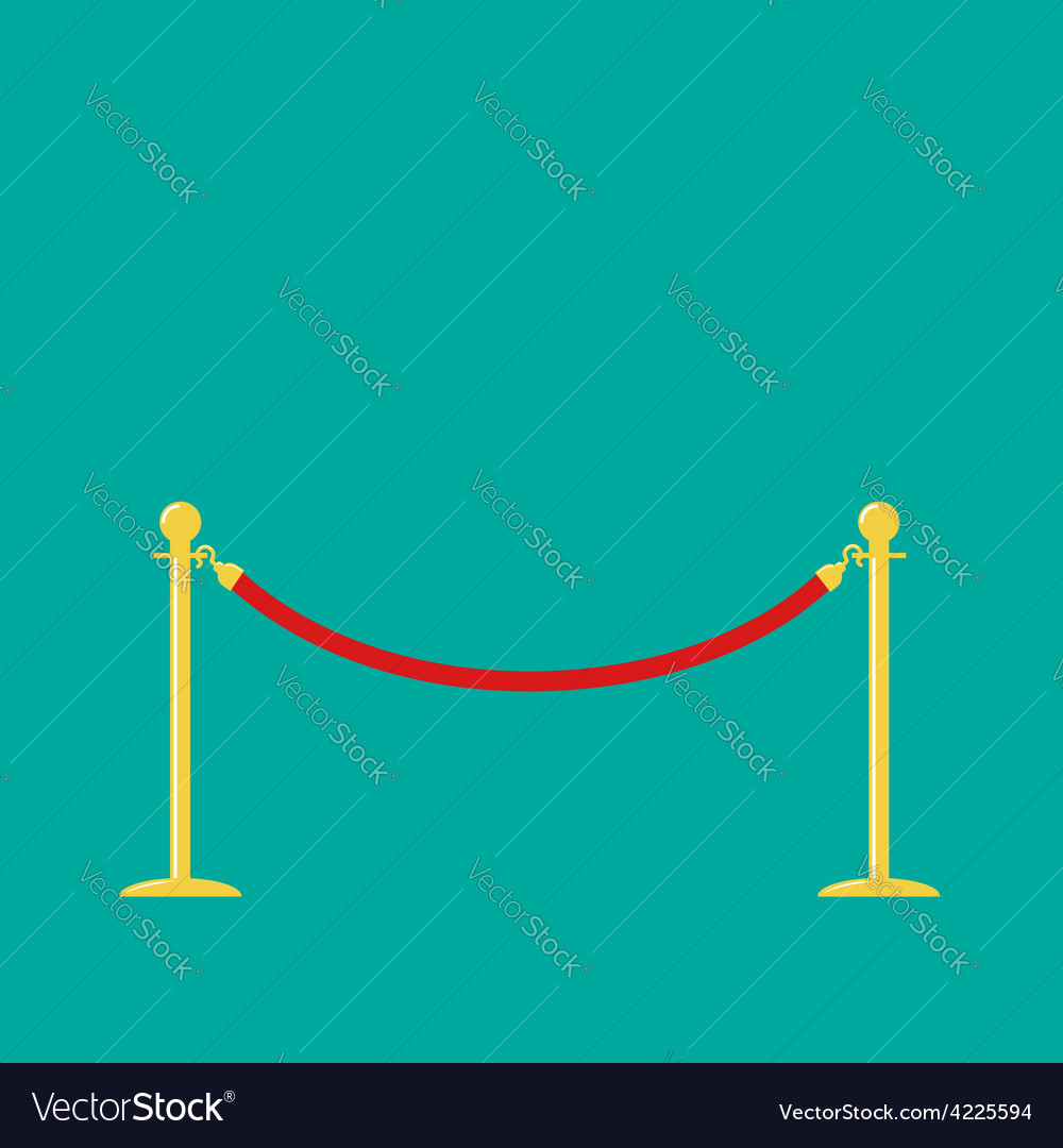 Red rope golden barrier stanchions turnstile green