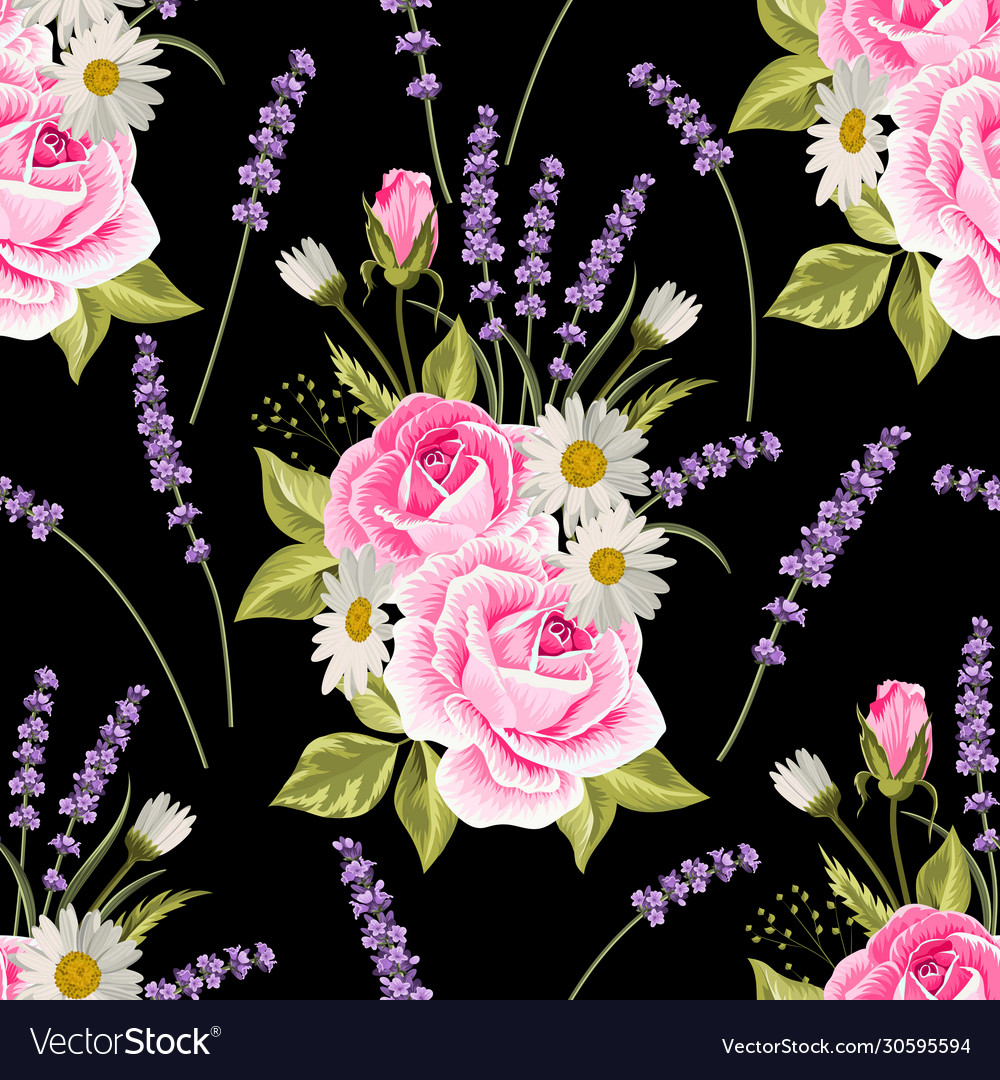 Seamless floral pattern with pink roses and
