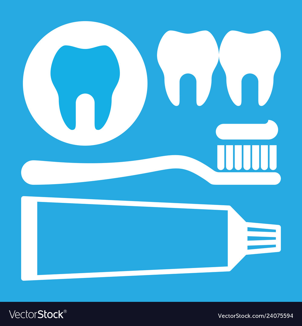 Toothbrush toothpaste and tooth icon