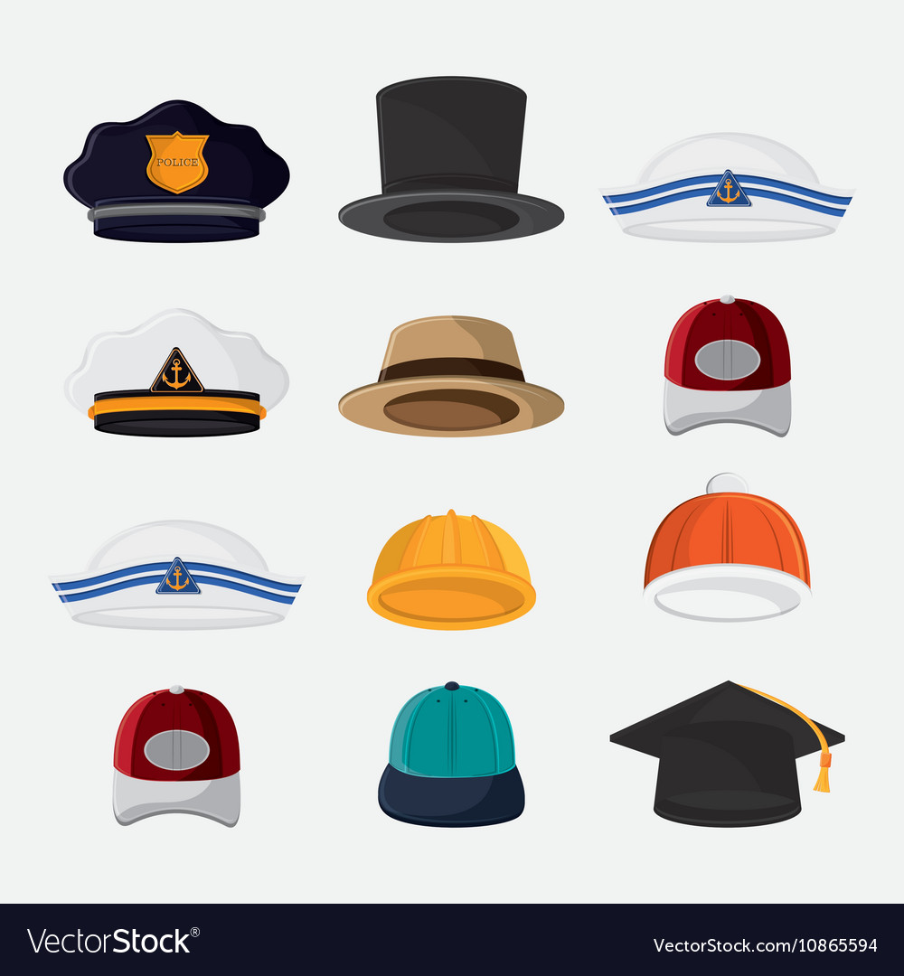 Types of hats cloth accesory Royalty Free Vector Image beccdc96bd4