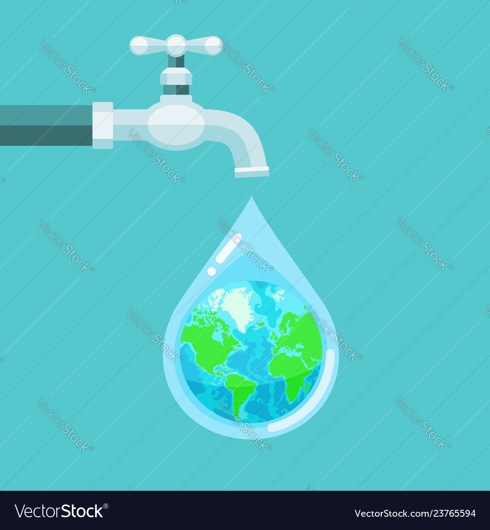 Water tap with the earth globe inside water drop
