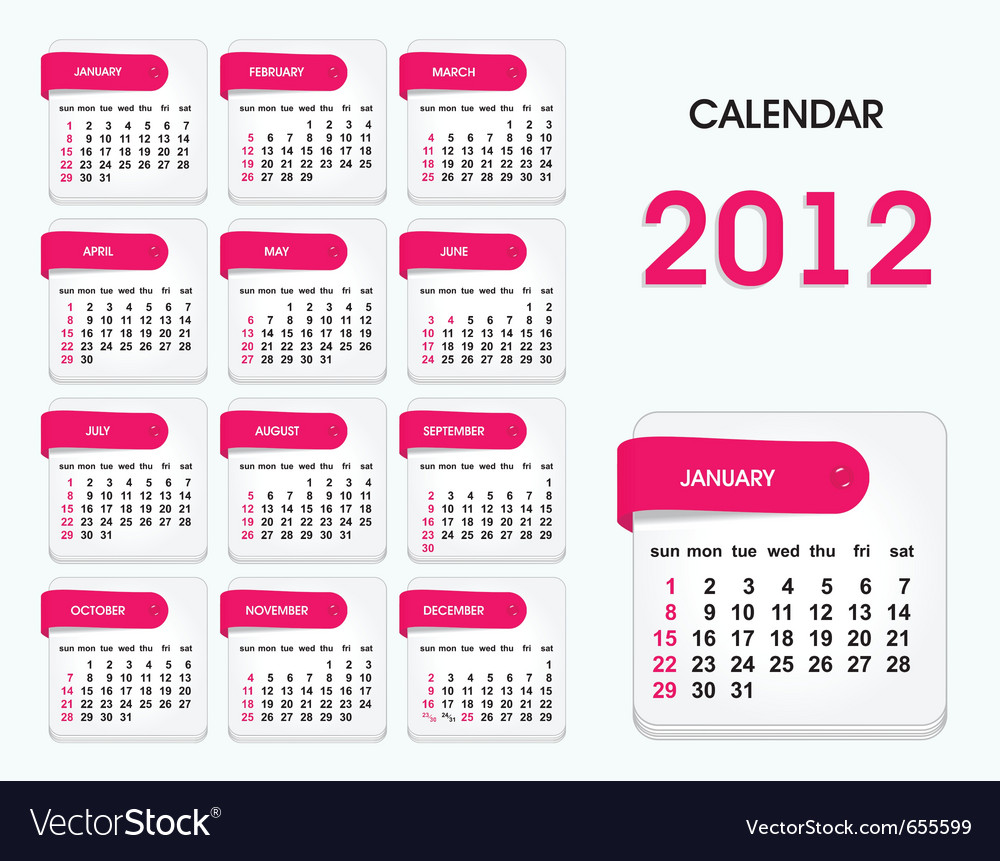 2012 Calendar Template Royalty Free Vector Image