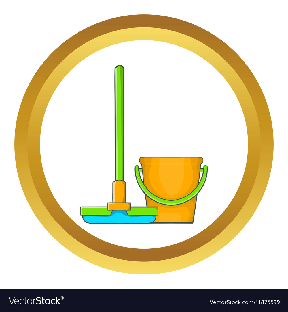 Bucket with mop icon