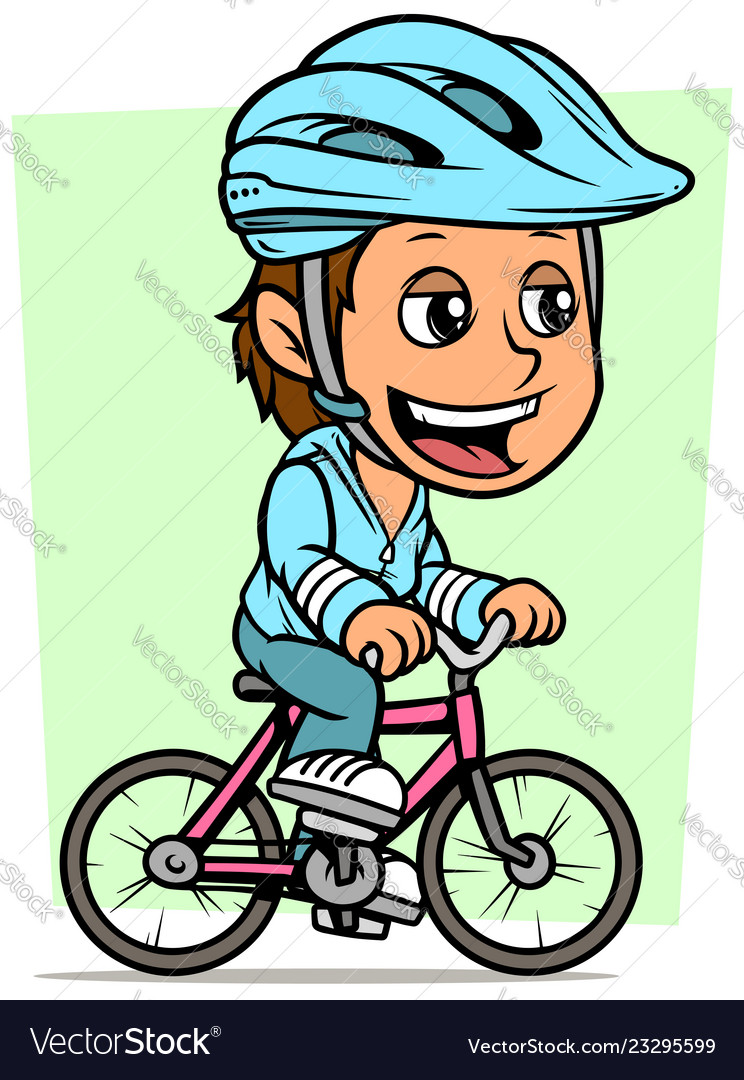 Cartoon brunette girl character riding on bicycle