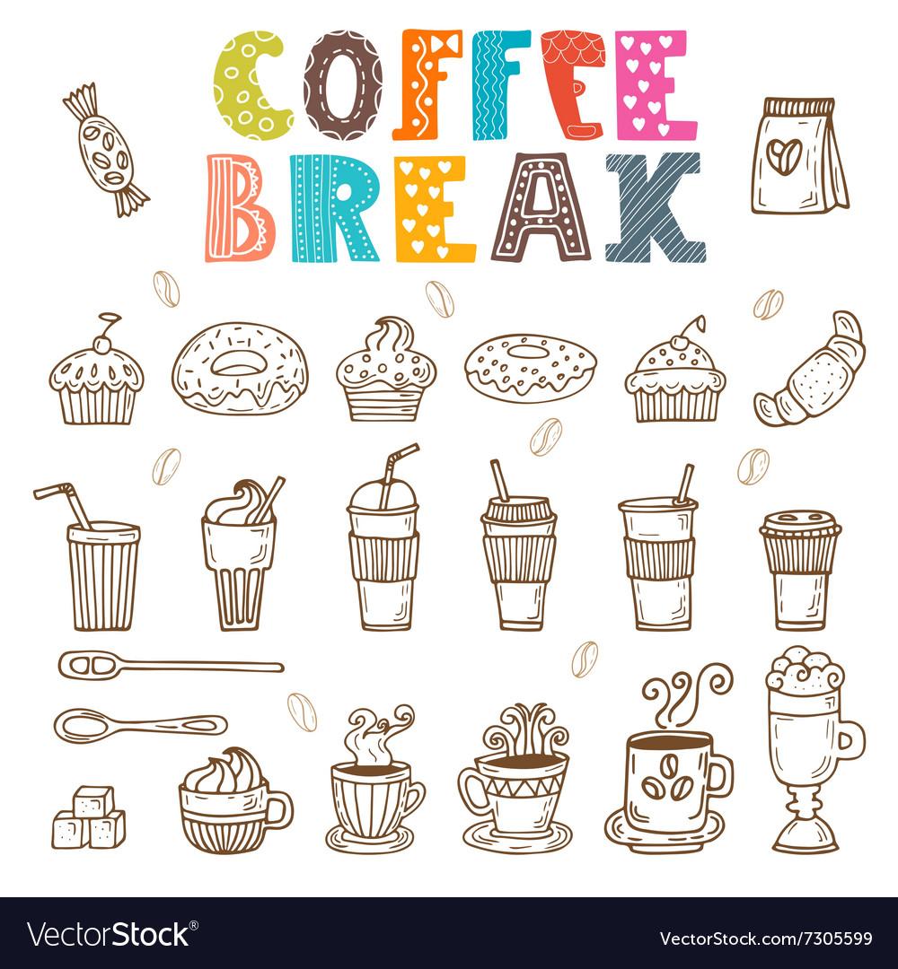 Coffee break doodle set Hand drawn coffee elements