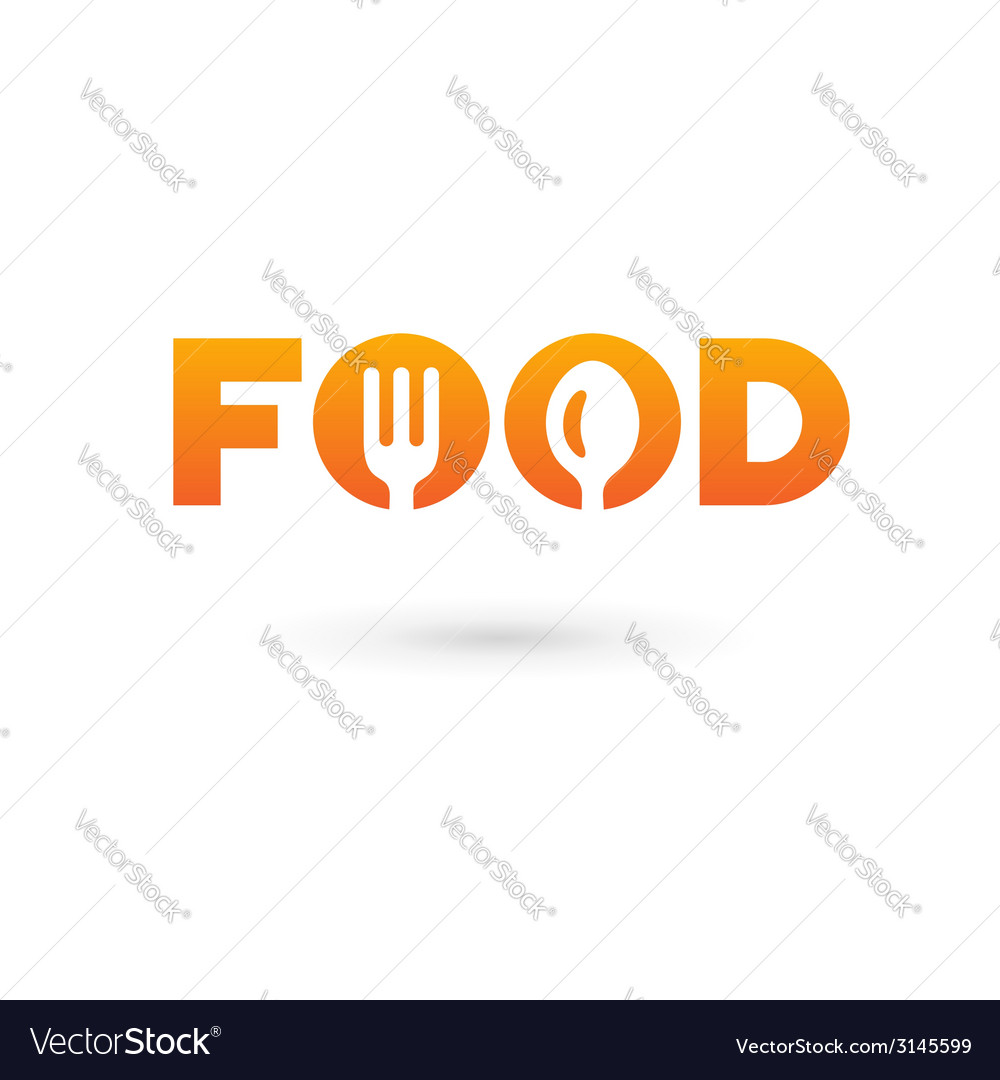 Food word sign logo icon design template elements Vector Image
