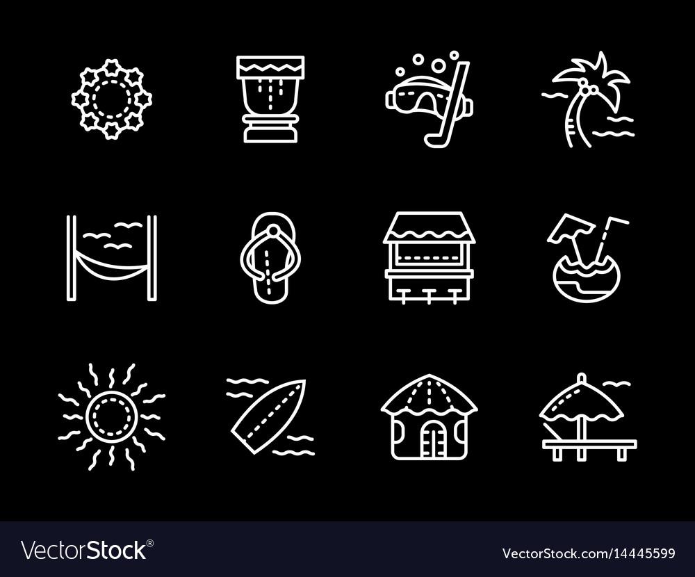 Hawaii white line icons set