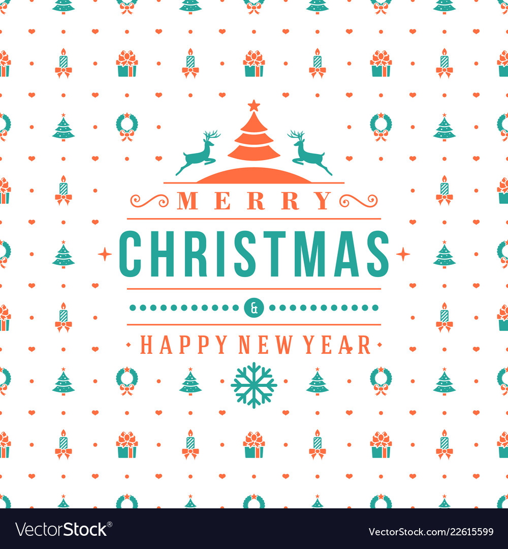 Merry christmas and happy new year retro design