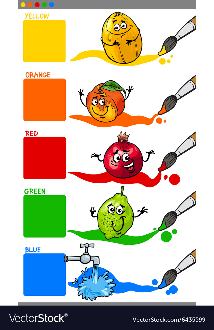 Primary Colors With Cartoon Fruits Royalty Free Vector Image