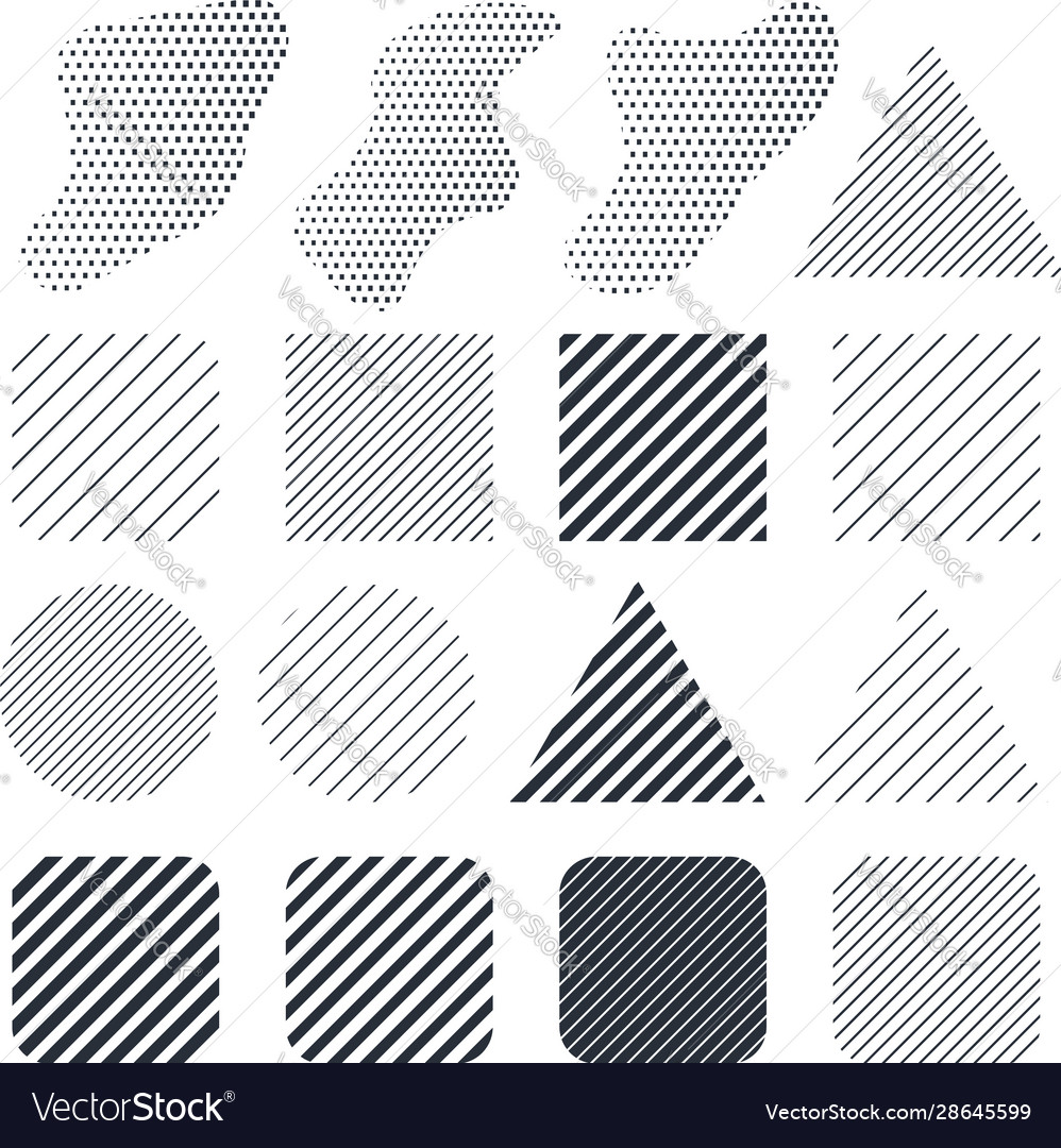 Set abstract modern line shapes design element