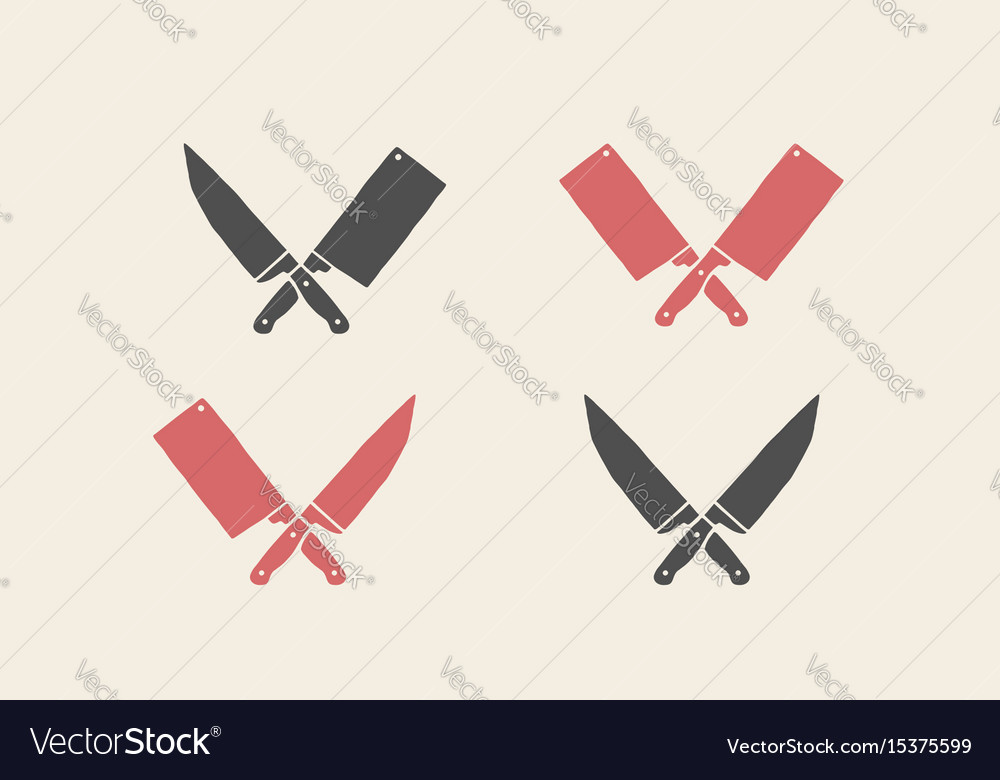 Set of restaurant knives icons vector image