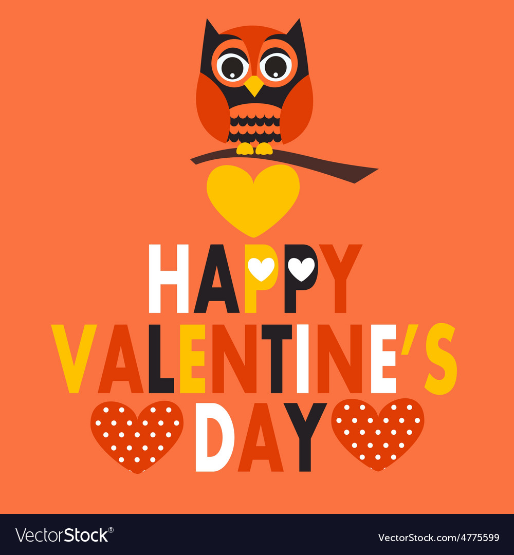 Valentines Day Owl Royalty Free Vector Image Vectorstock