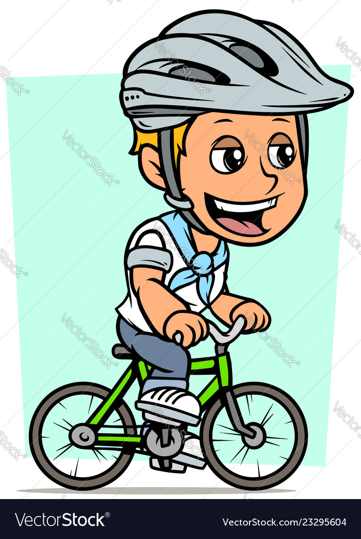 Cartoon blonde boy character riding on bicycle
