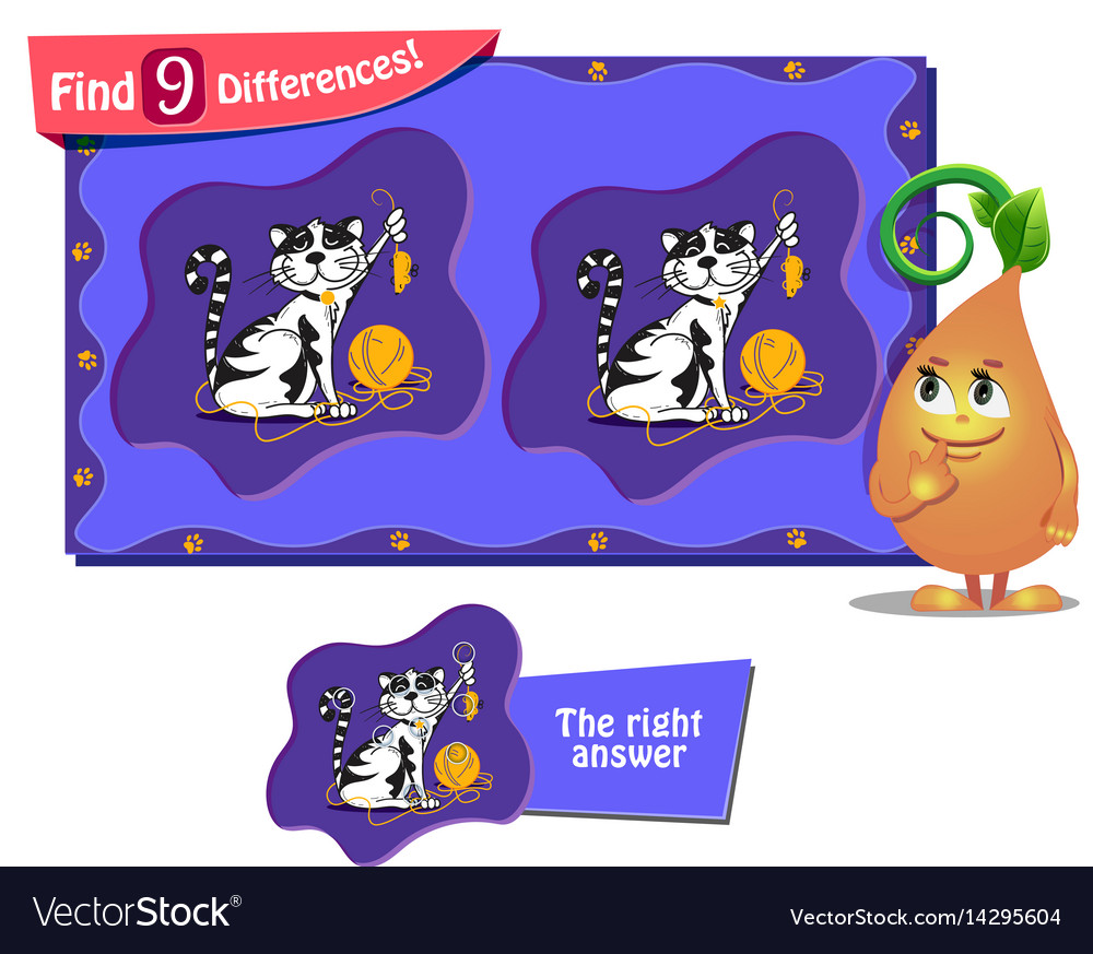 Cat And Mouse Game 9 Differences Royalty Free Vector Image