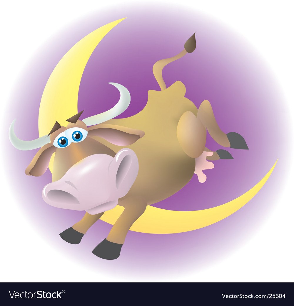 Cow jumped over the moon vector image