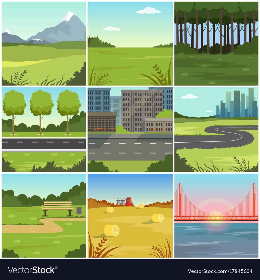 Different natural summer landscapes set scenes of