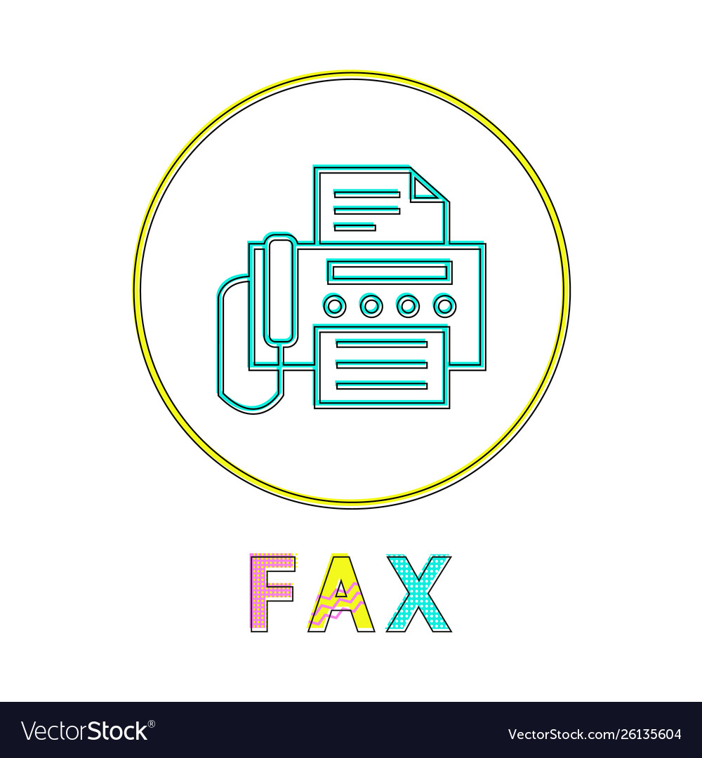 Fax round linear icon with machine and document