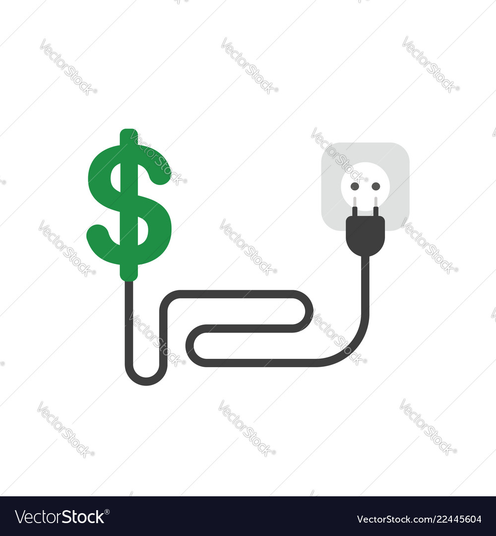Icon concept of dollar symbol with cable plug and