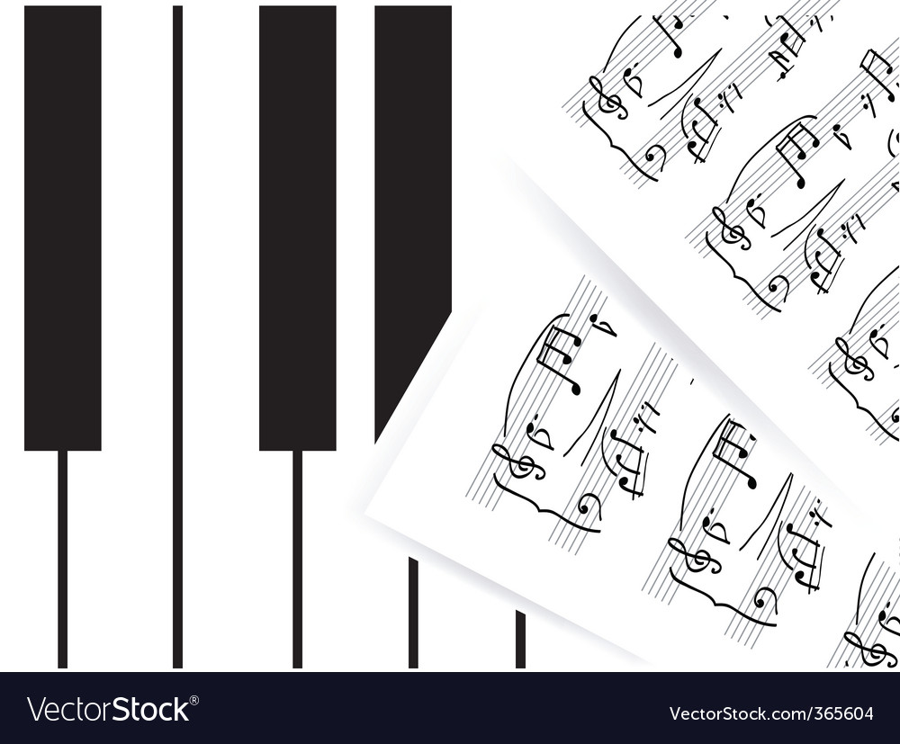 Piano keys with note
