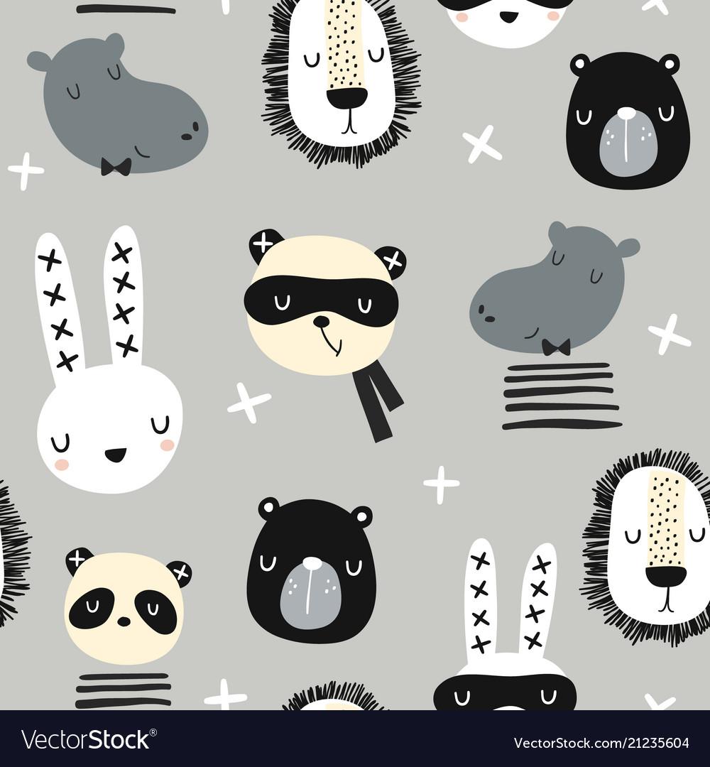 Seamless childish pattern with stylish monochrome
