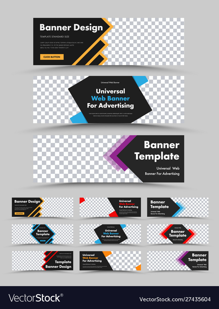 Set horizontal black web banners with colored