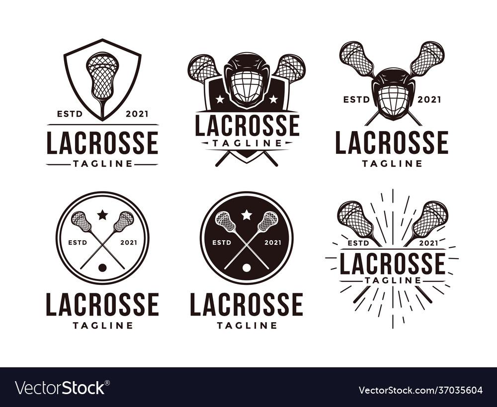 Set vintage seal badge lacrosse sport logo
