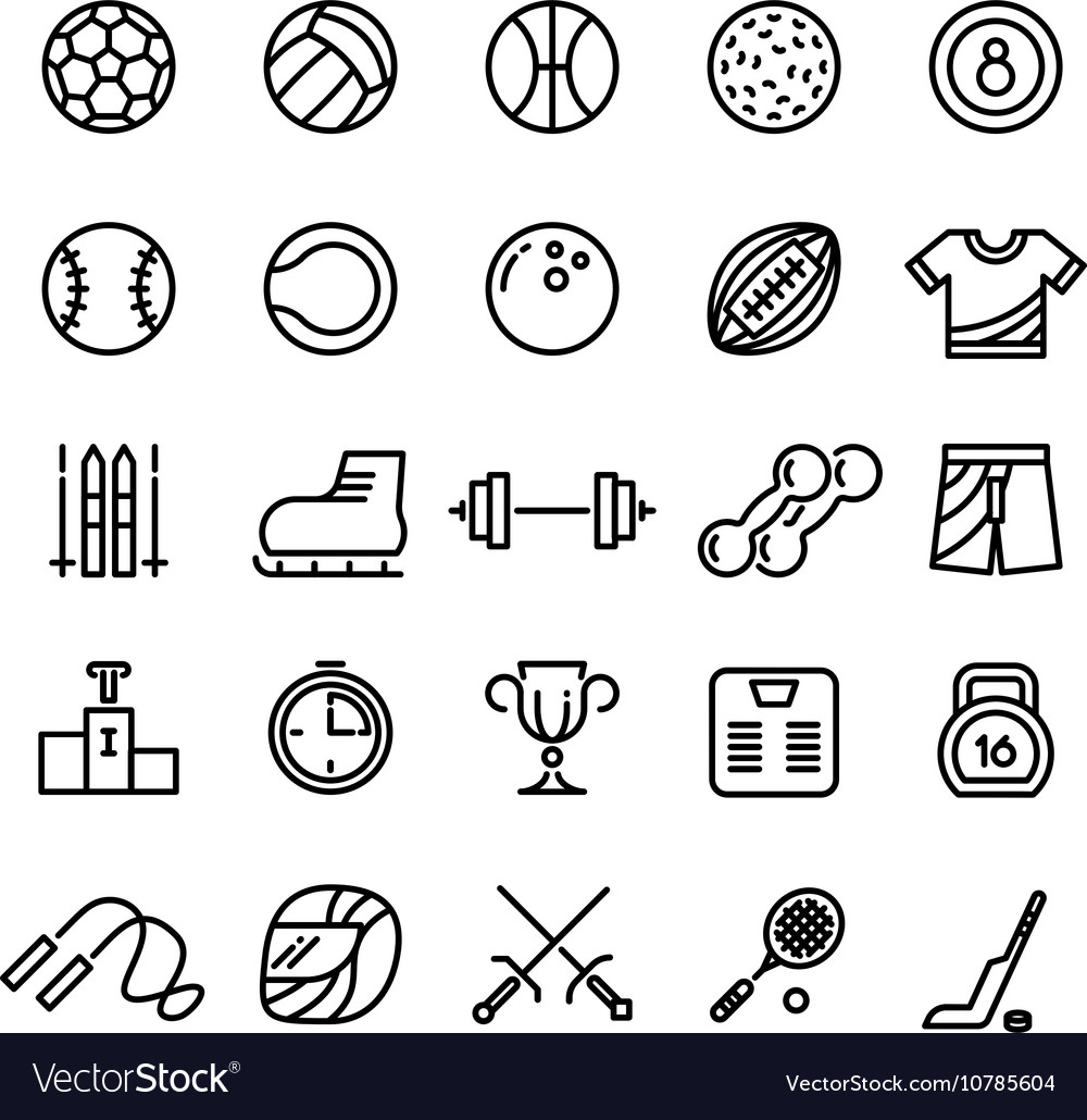Sports wear equipment line icons set vector image