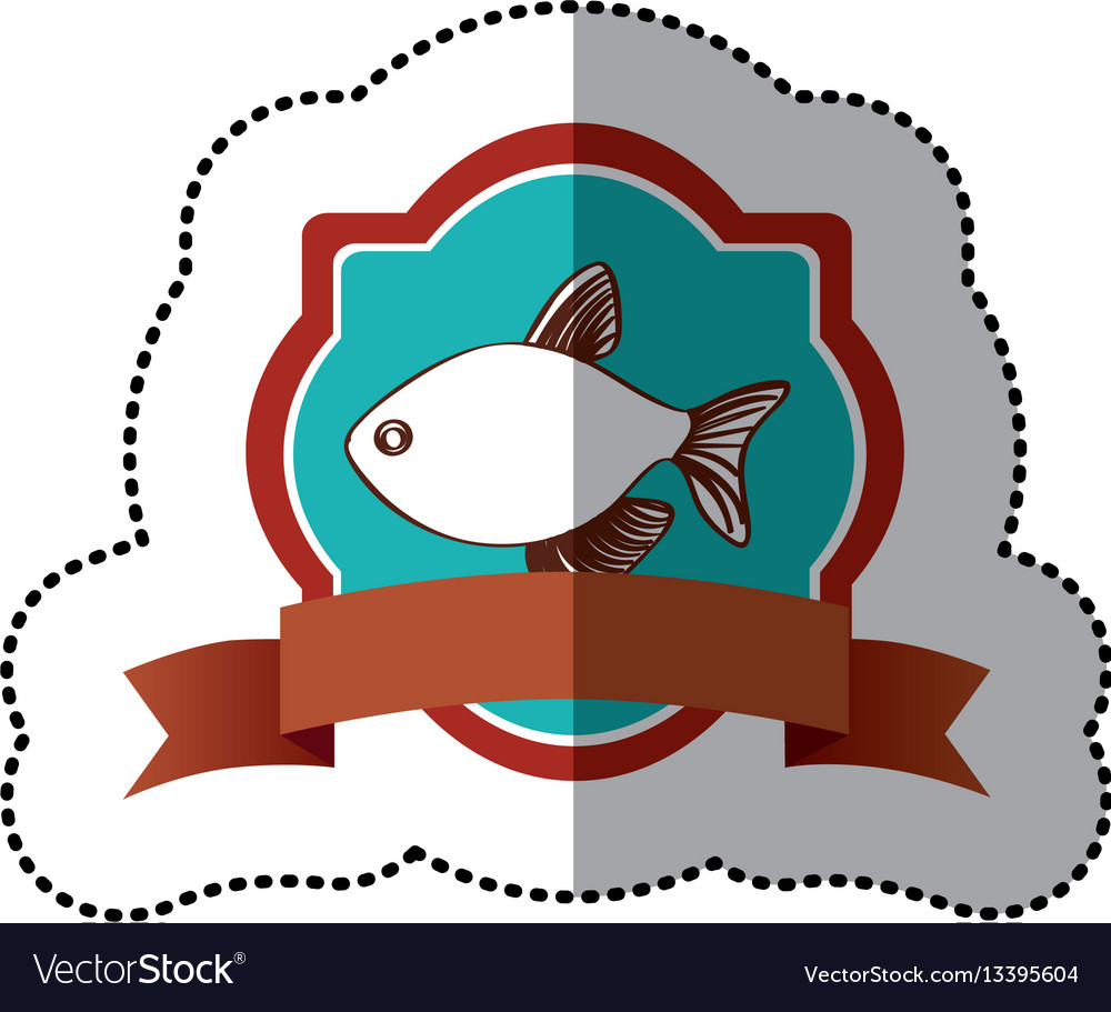 Sticker old heraldic borders with fish and label vector image