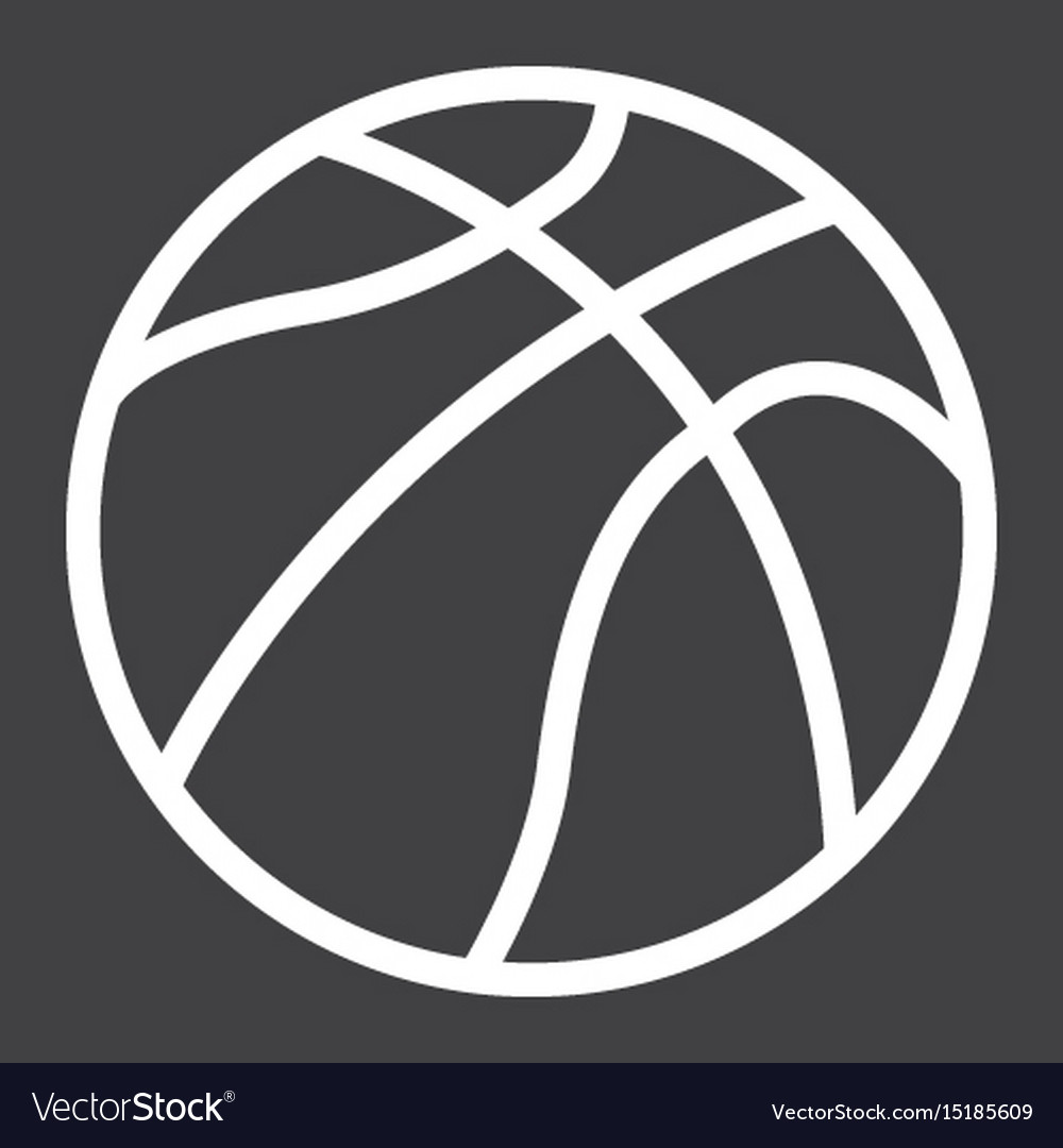 Basketball ball line icon sport and game