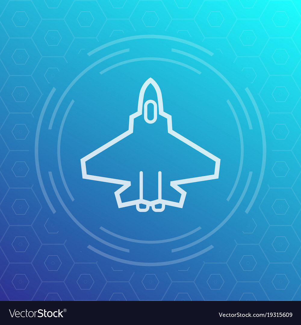 Combat aircraft fighter jet linear icon