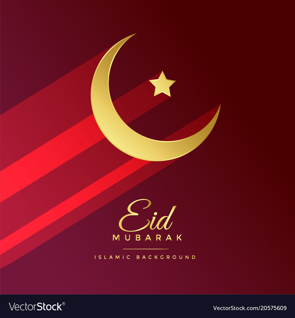 Eid mubarak festival greeting with golden moon vector image m4hsunfo