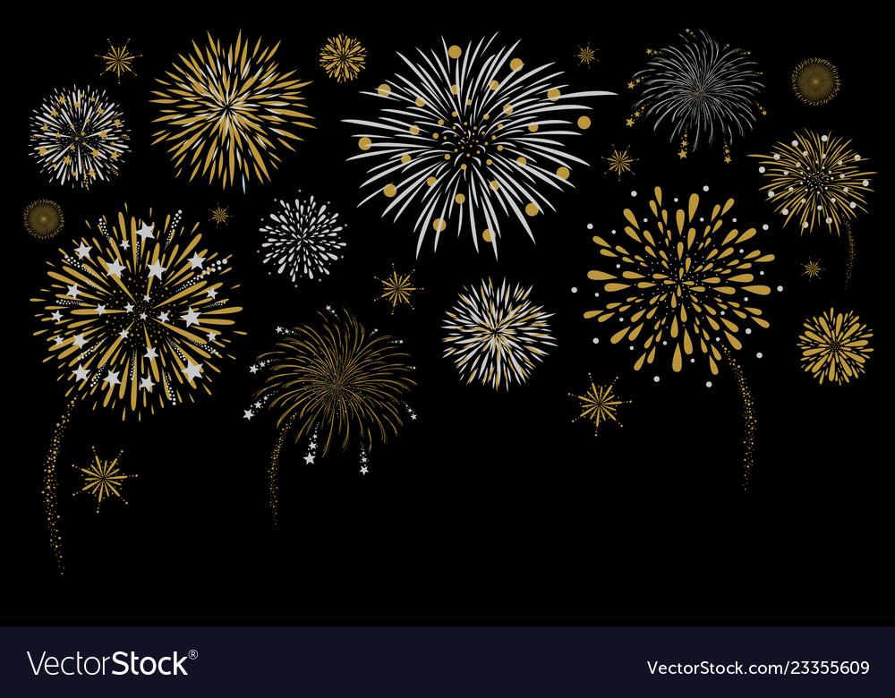 Fireworks design on black background