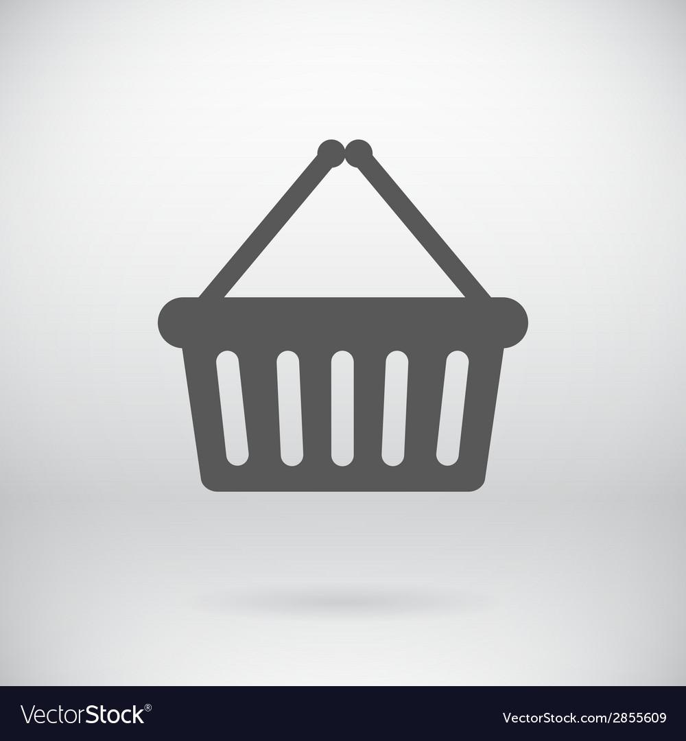 Flat Cart Bucket Sign Shopping Bin Symbol vector image