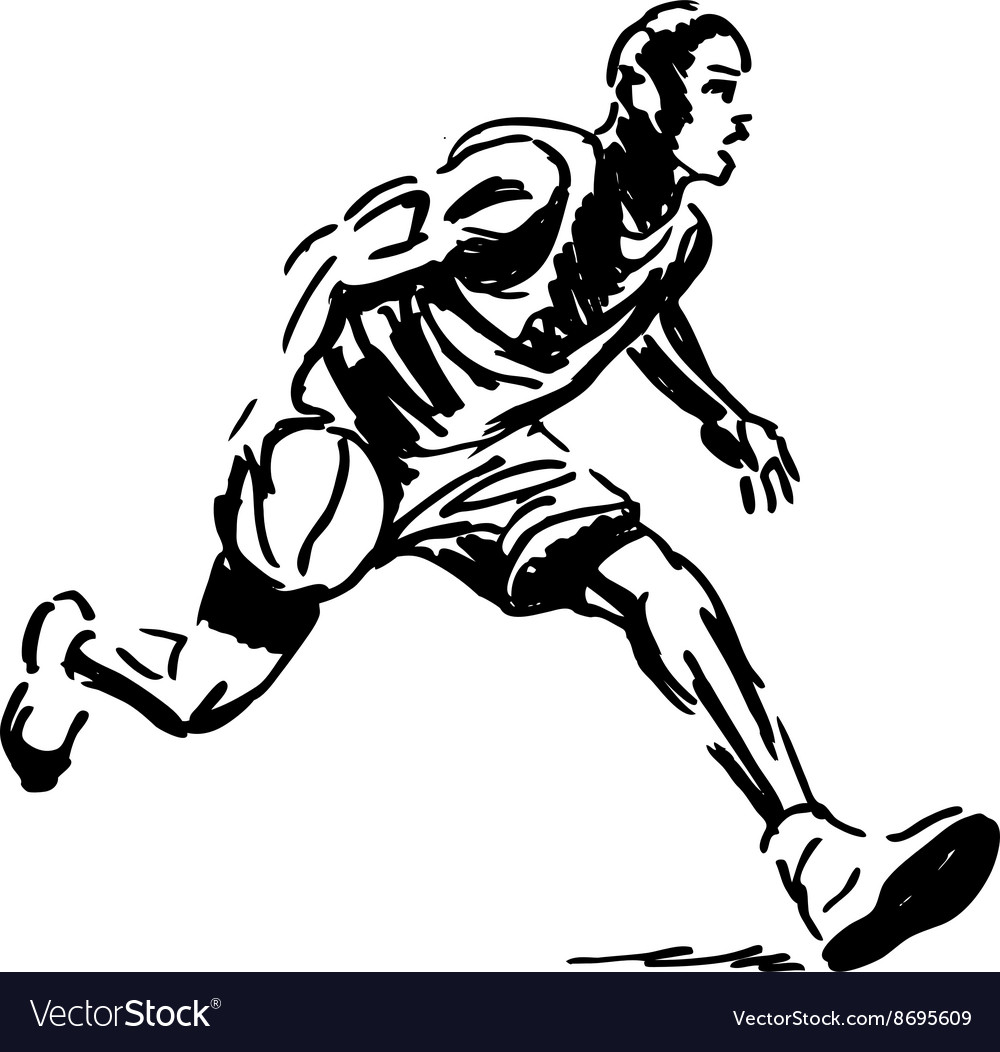 Hand sketch basketball player