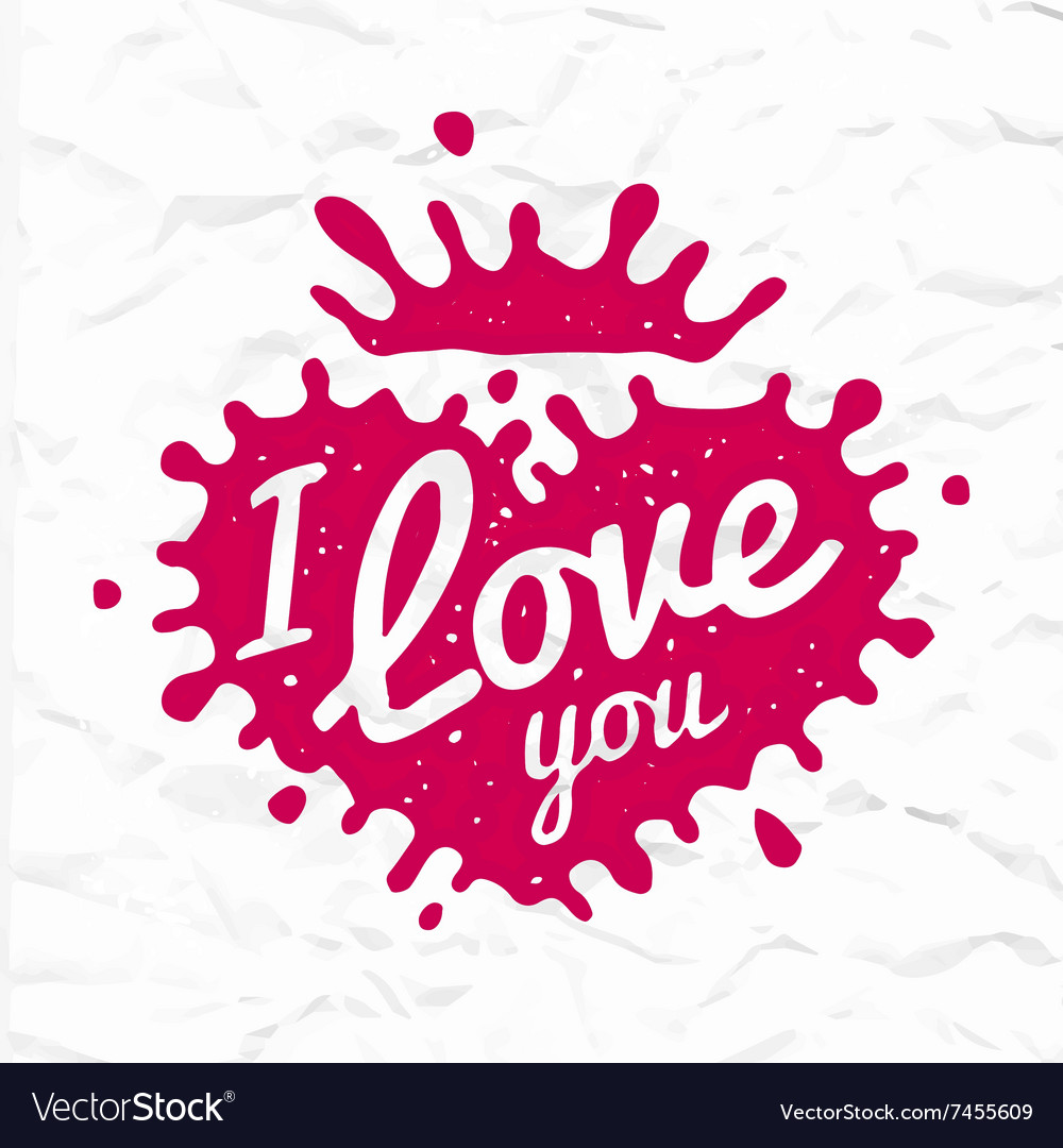 I love you lettering in heart shape splash