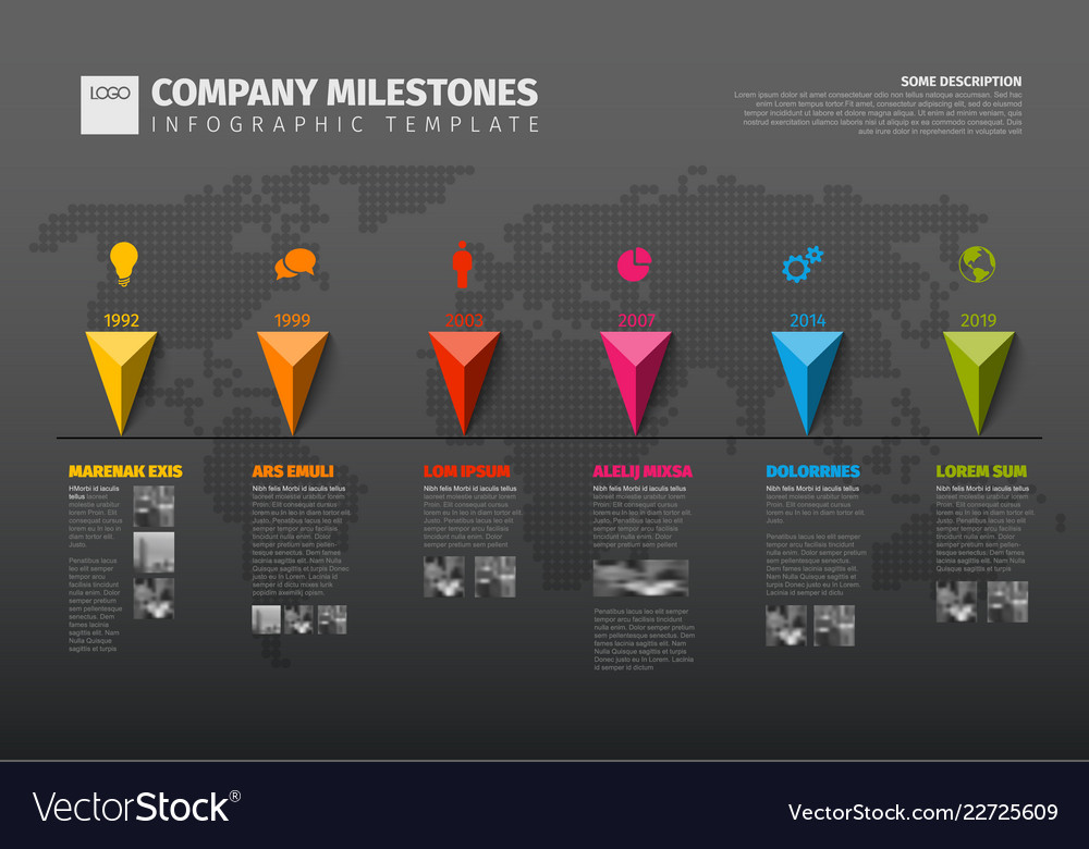 infographic company history timeline template vector image