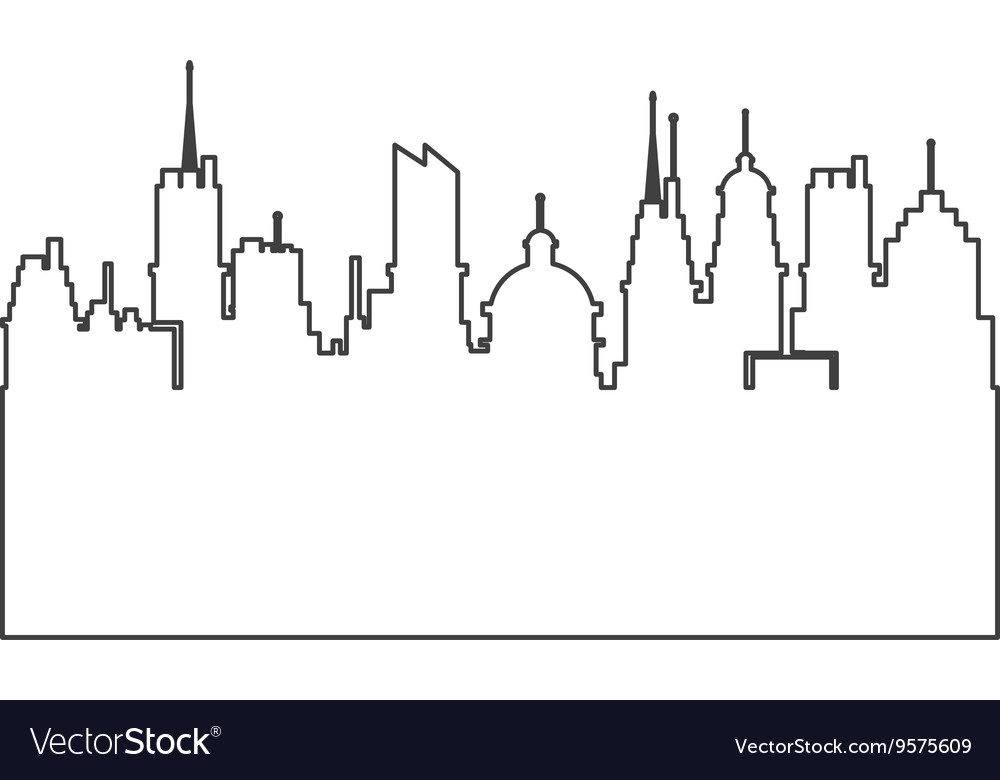 Modern city skyline silhouette outline icon vector image