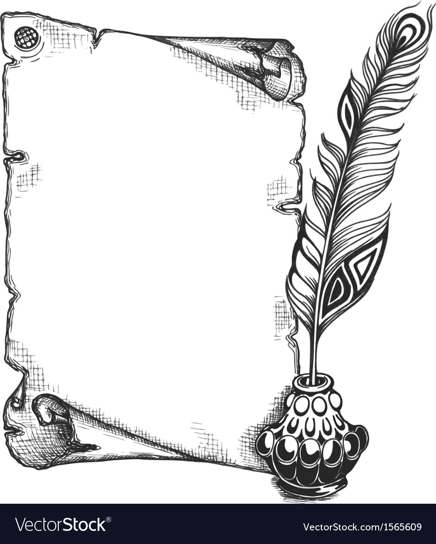 Paper scroll feather and inkwell vector image