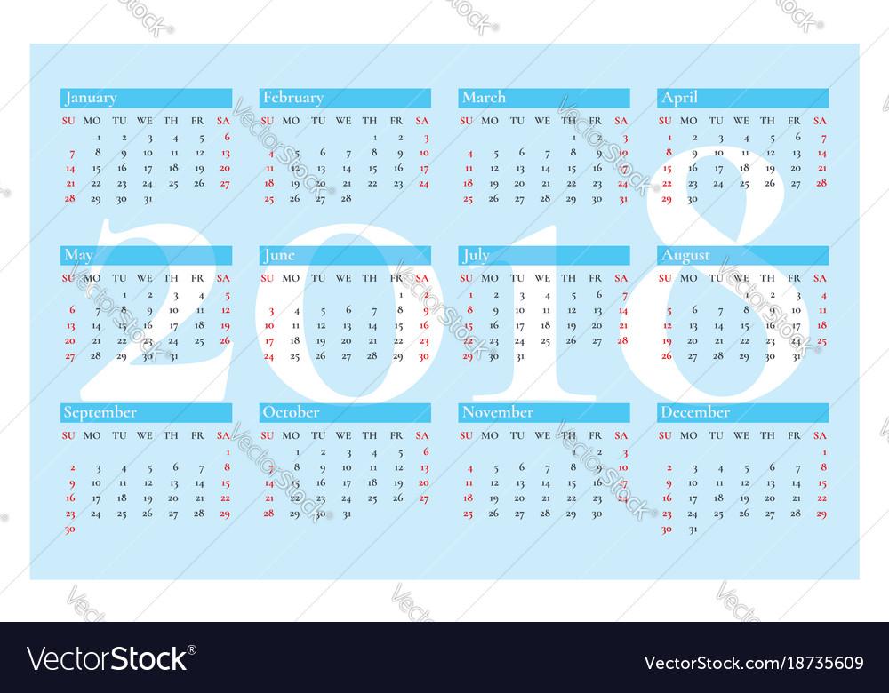 Pocket calendar for 2018 year on blue